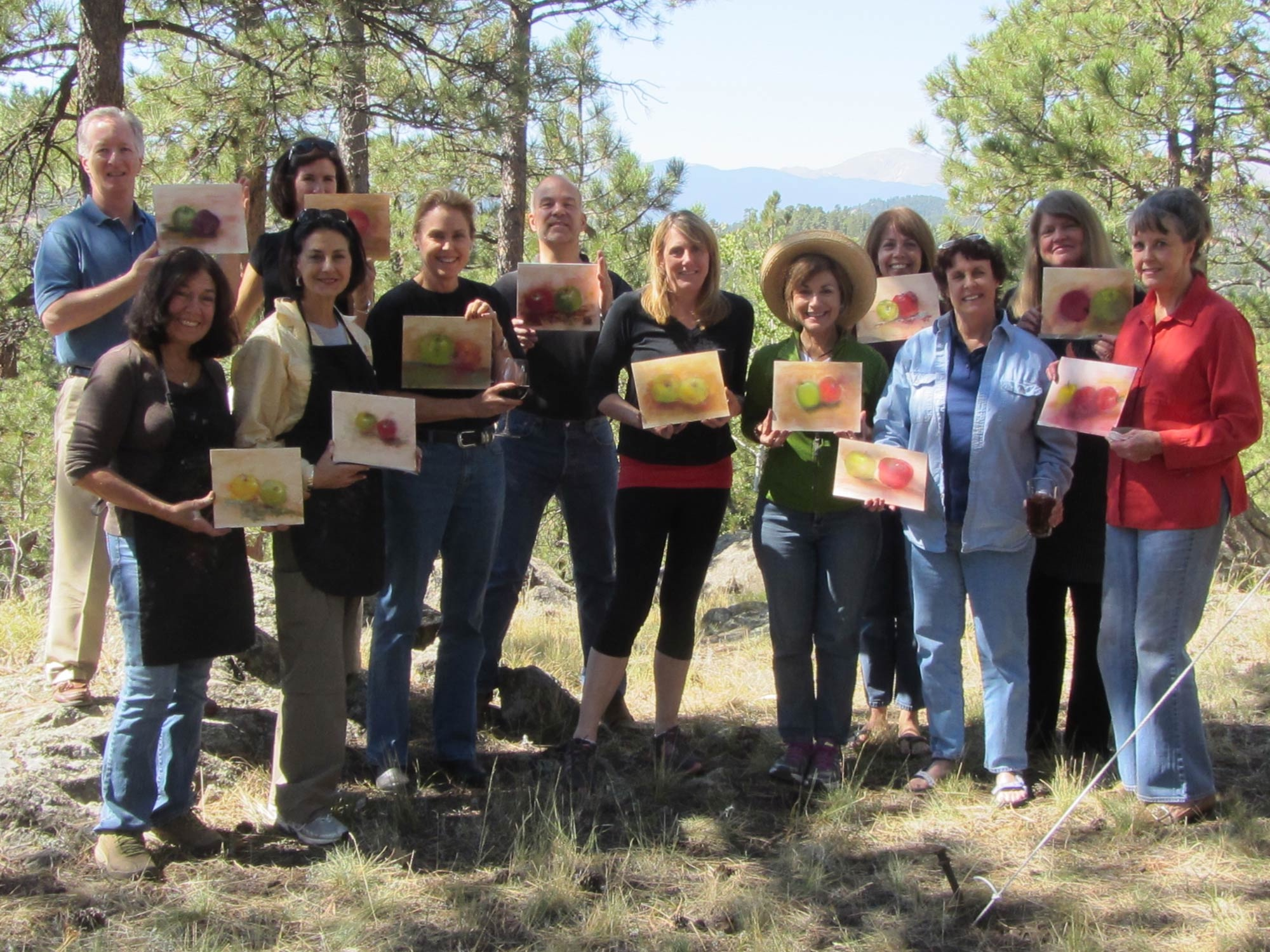 #68_Paint-Out-2012_Collectors-with-their-art-works-created-at-pastel-lesson-with-Kathy-Anderson-and-Stephanie-Birdsall