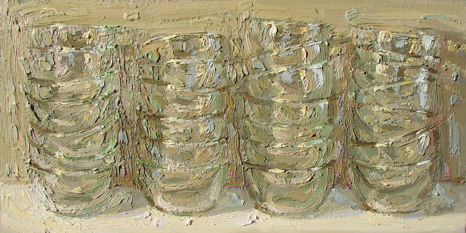 Switzer, Nancy__Four Clear Stacks__oil on canvas 15x30_$8,500