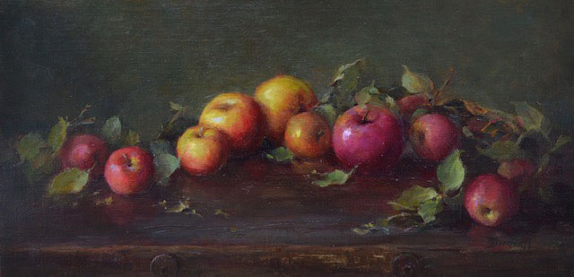 Birdsall,-Stephanie,-Apples-Forever,-oil-on-linen,-10-x-20,-$3,000