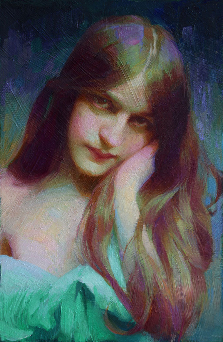 Evelyn-Nesbit-(Blue-Siren)_12x8_oil-on-masonite_2020_$2800