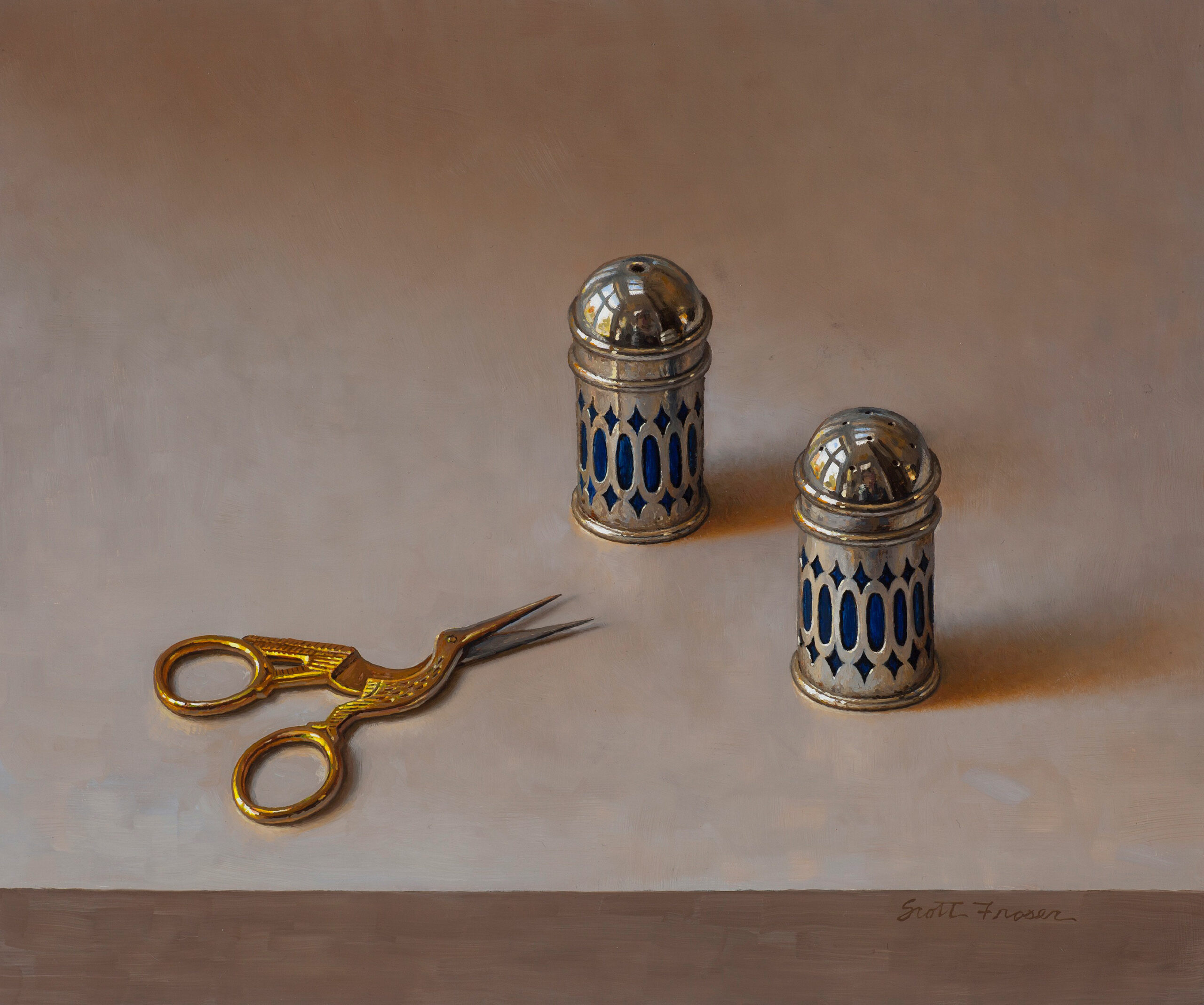Fraser,-Scott,-Salt-and-Pepper-Shakers,-Oil-on-board,-10-x-12,-$9,000