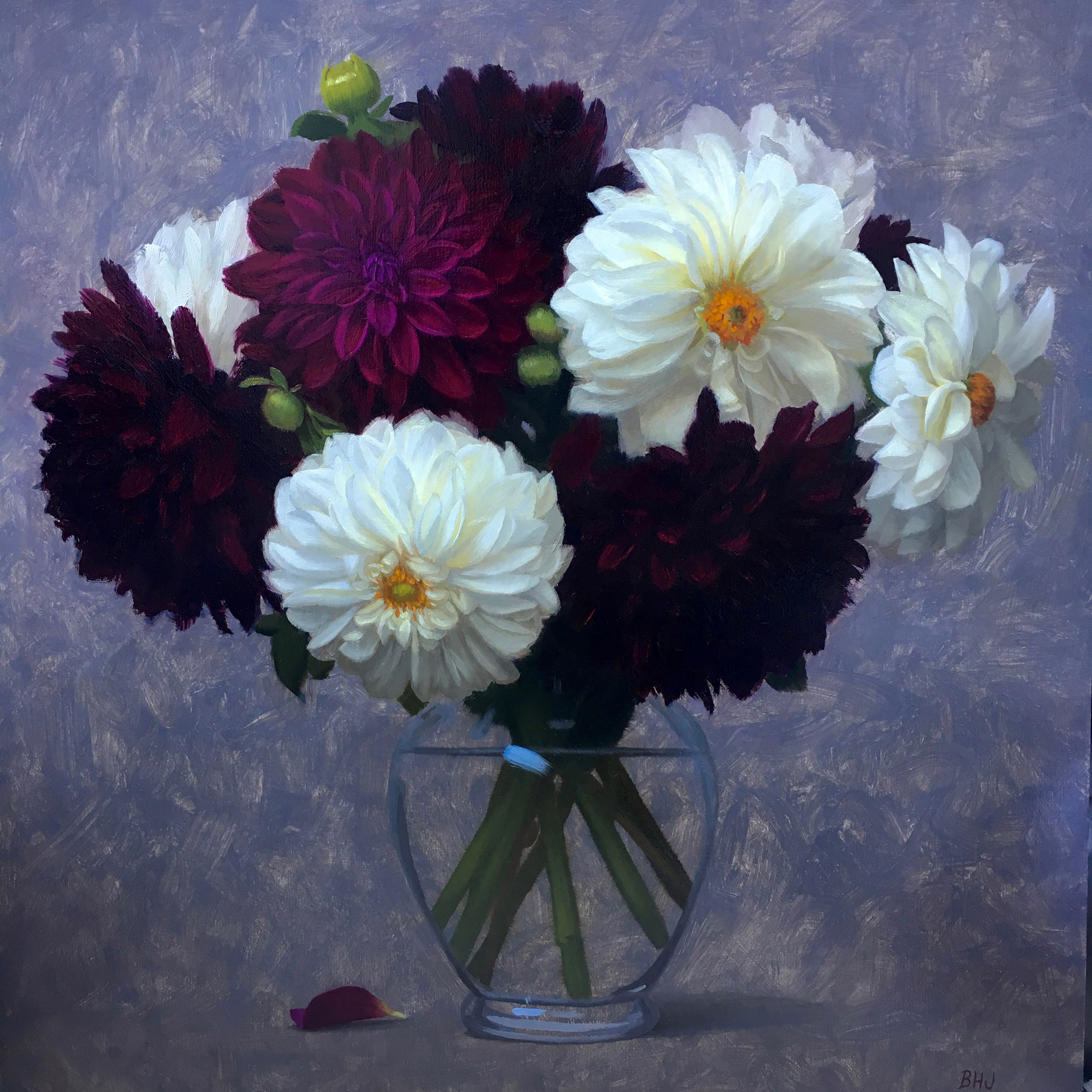 Johnston,-Brendan,-Low-Res-Image,-Crimson-and-White-Dahlias-16__x16_,-Oil-on-Panel,-$2,800