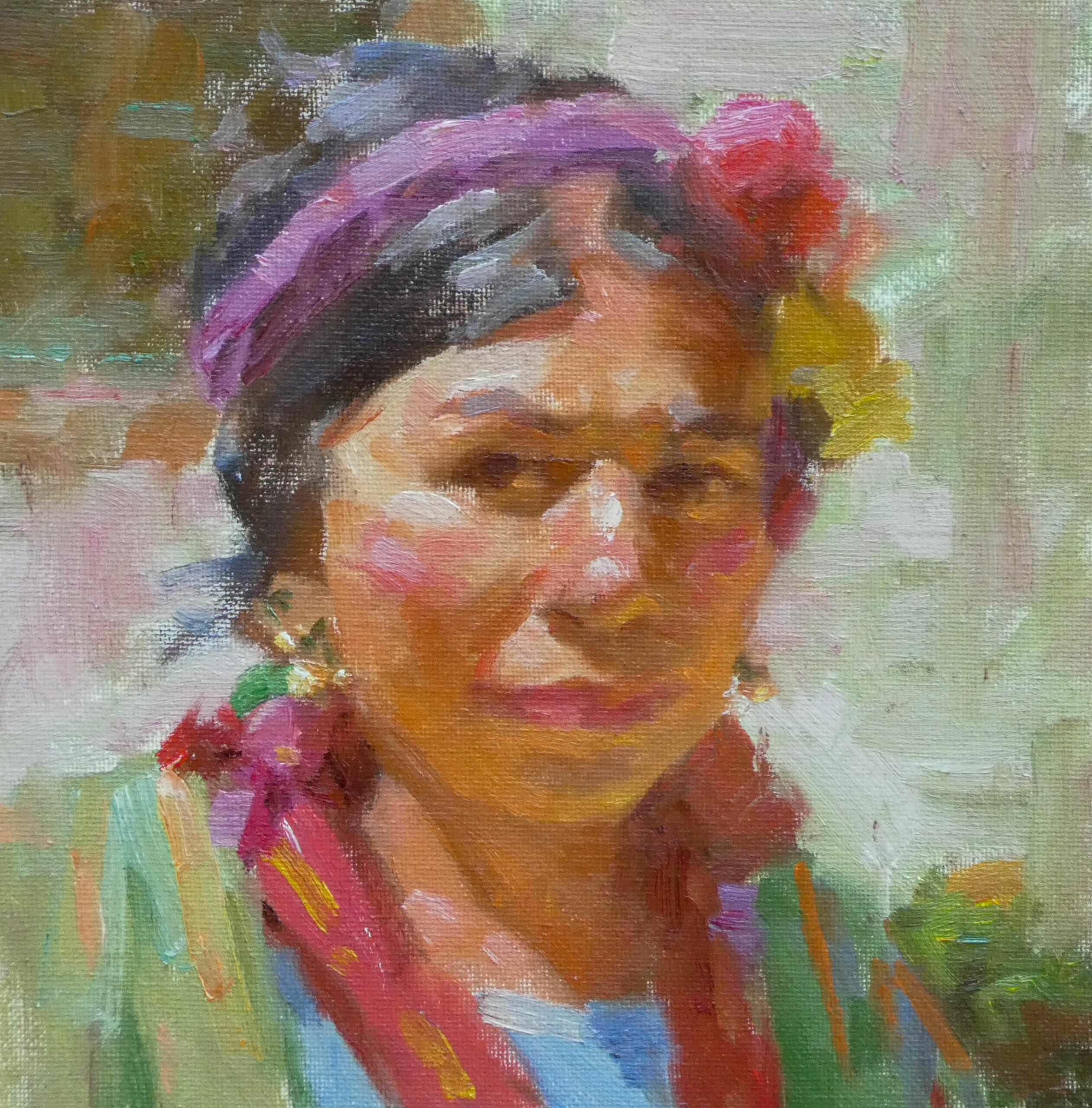 Mueller_Ned_Mayan-Woman_Oil-on-linen_8x8_$1200