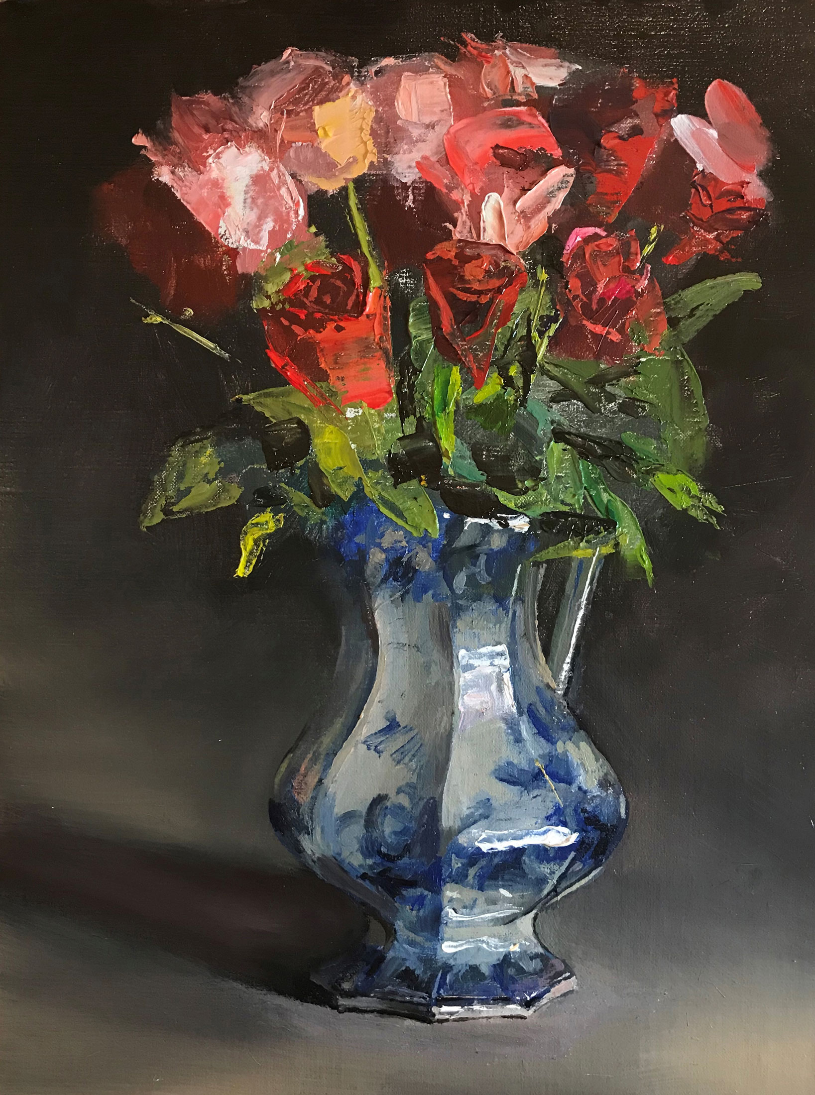 Mundy,-CW,low-res_-Flow-Blue-Pitcher-With-Roses,-Birthday-Bouquet-12×9,-$4,500