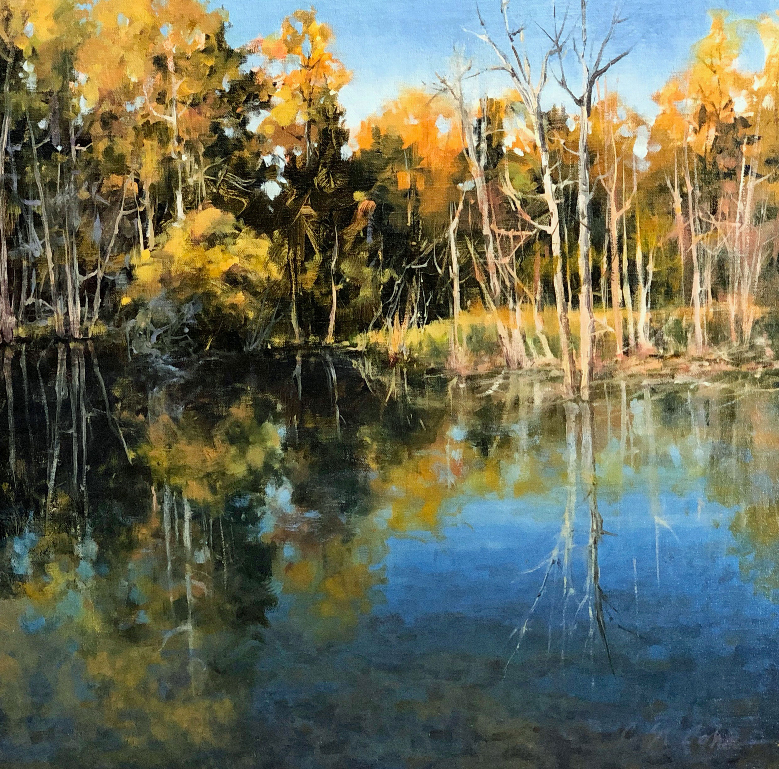 St.-John,-Cheryl,-A-Crisp-Fall-Day.18X18,oil-on-linen,-$2,750
